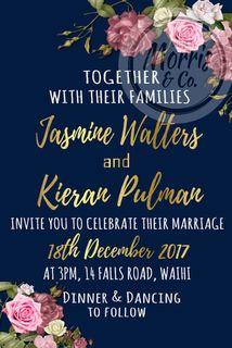 Navy Floral Wedding