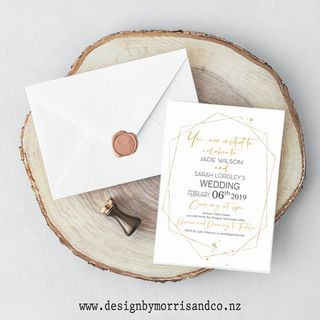 Gold Hex Wedding Invitation