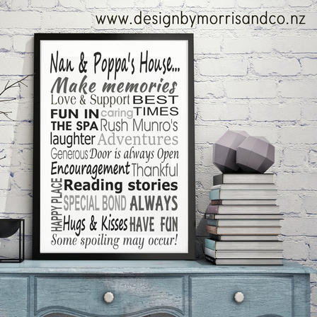 Grandparents HouseRules- Your choice of ALL words & colours!