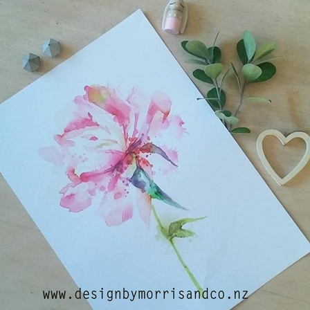 Watercolour Flower Series 2- Pink Peony