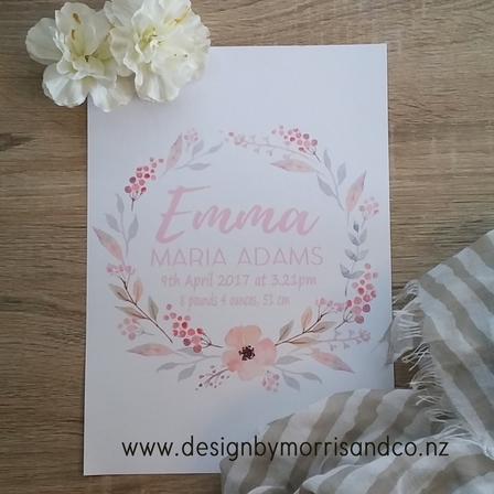 Dusty Pink Floral Birth Details