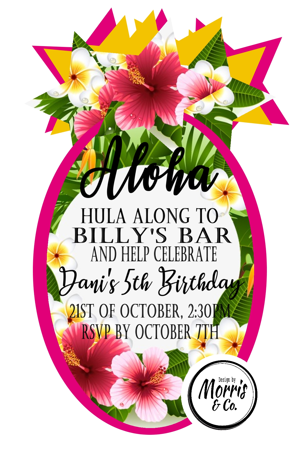 Aloha! Pineapple Party Invitation