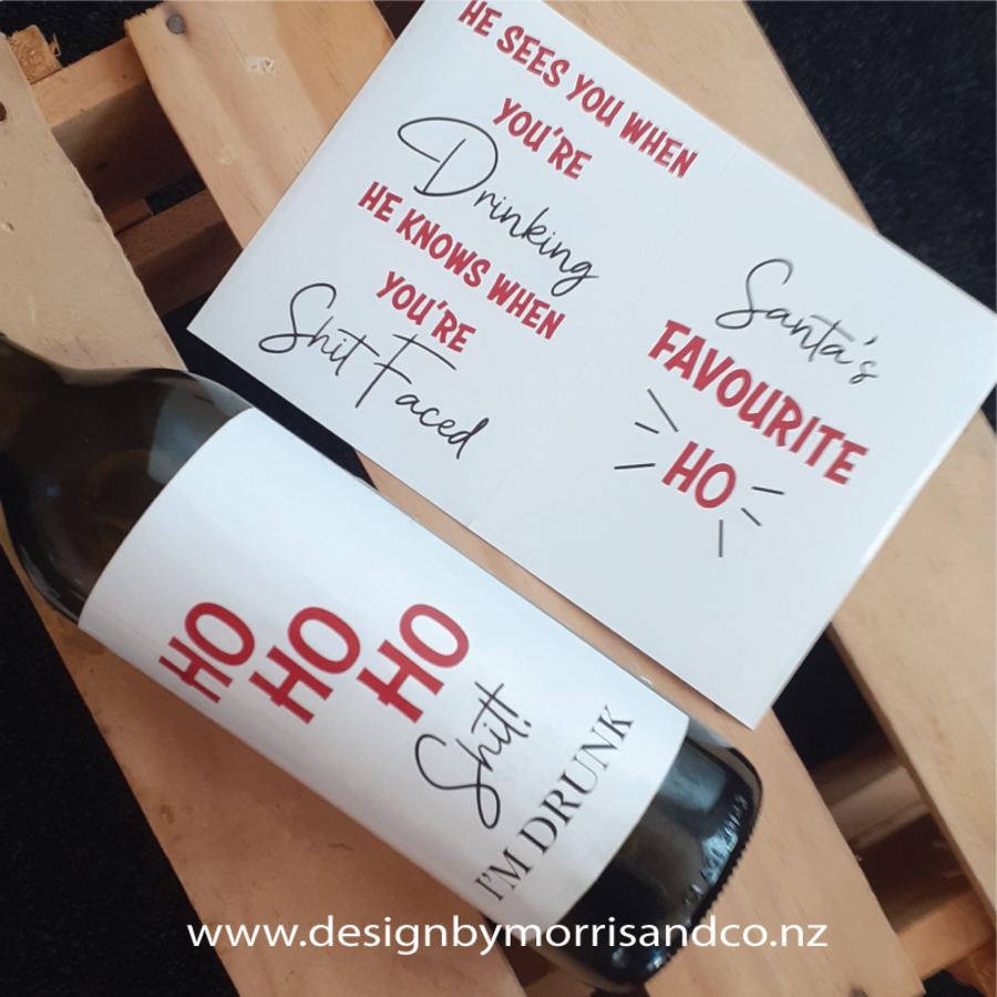 Naughty Christmas Wine Bottle Labels